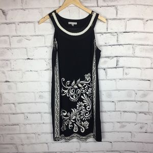 Sandra Darren Black and cream floral dress